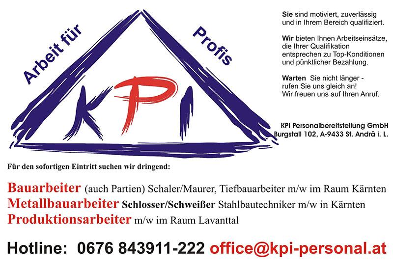 Inserat freie Stellen KPI
